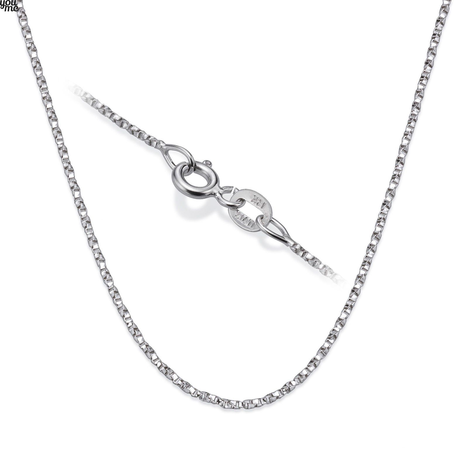 """14K White Gold Chain For Pendant Necklace 17 72"""" 1mm Spring"""