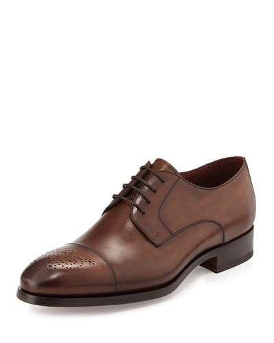 Leather Lace-Up Shoe, Brown