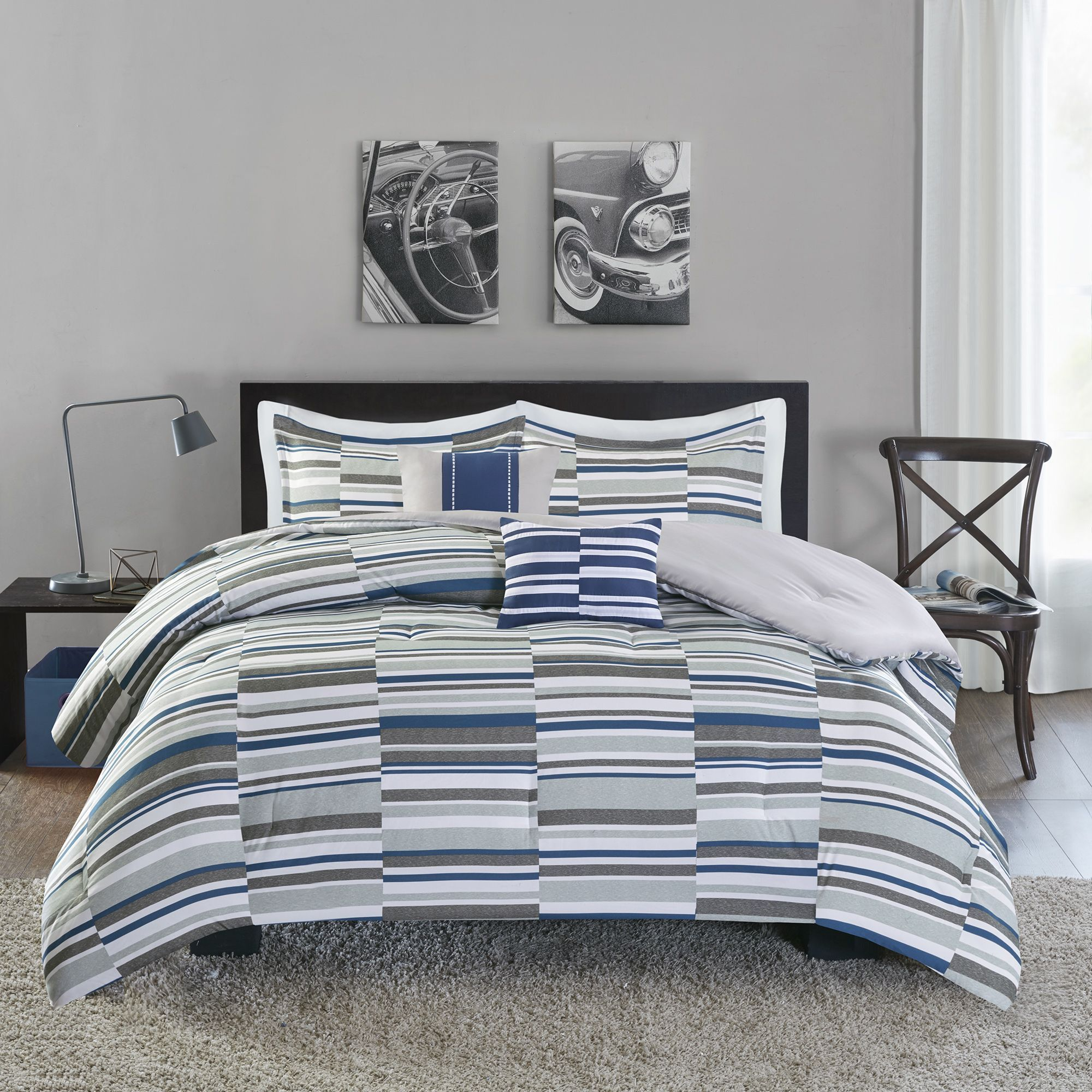 Spuce Up Your Bedroom With The Hip Wyatt Blue Comforter Set A Broken Stripe Pattern Covers This Top Of Bed In Urban Shades And Grey For Modern