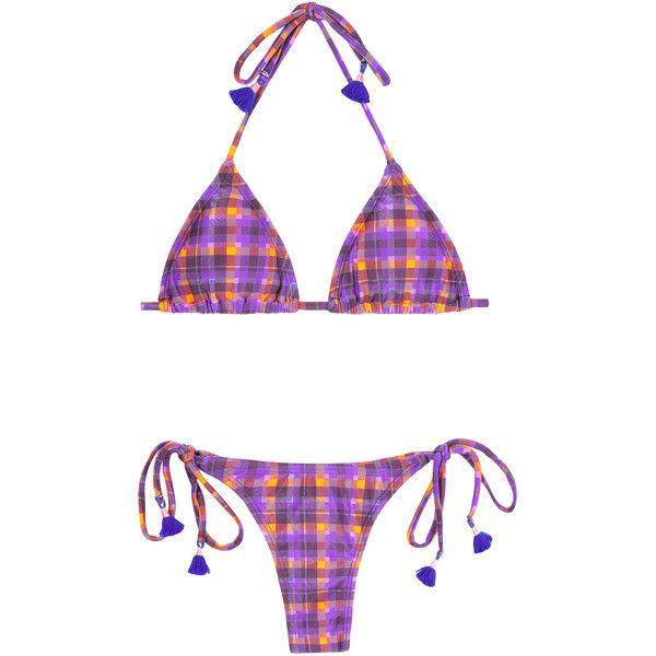 Blue Man Women's swimwear Brazilian Bikini - Nova Madras ($44) ❤ liked on Polyvore featuring swimwear, bikinis, purple, blue bikini, brazilian bikini swimwear, bikini swimwear, brazilian panty and brazilian style bikinis