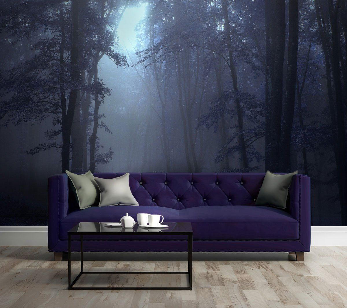 Black Scary Night Trees Forest Fog Wall Mural Photo Wallpaper GIANT WALL DECOR
