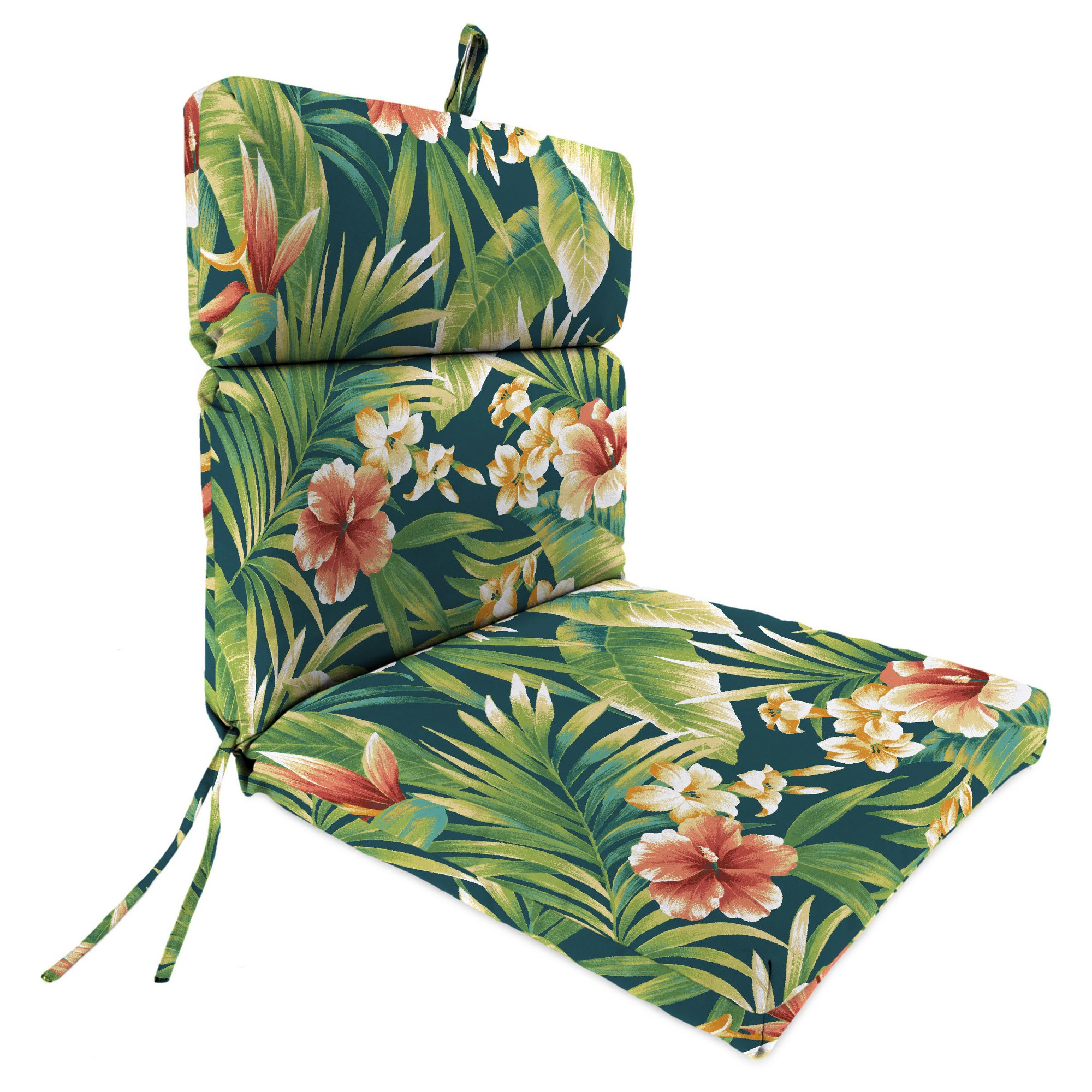 Outdoor French Edge Dining Chair Green Floral Jordan