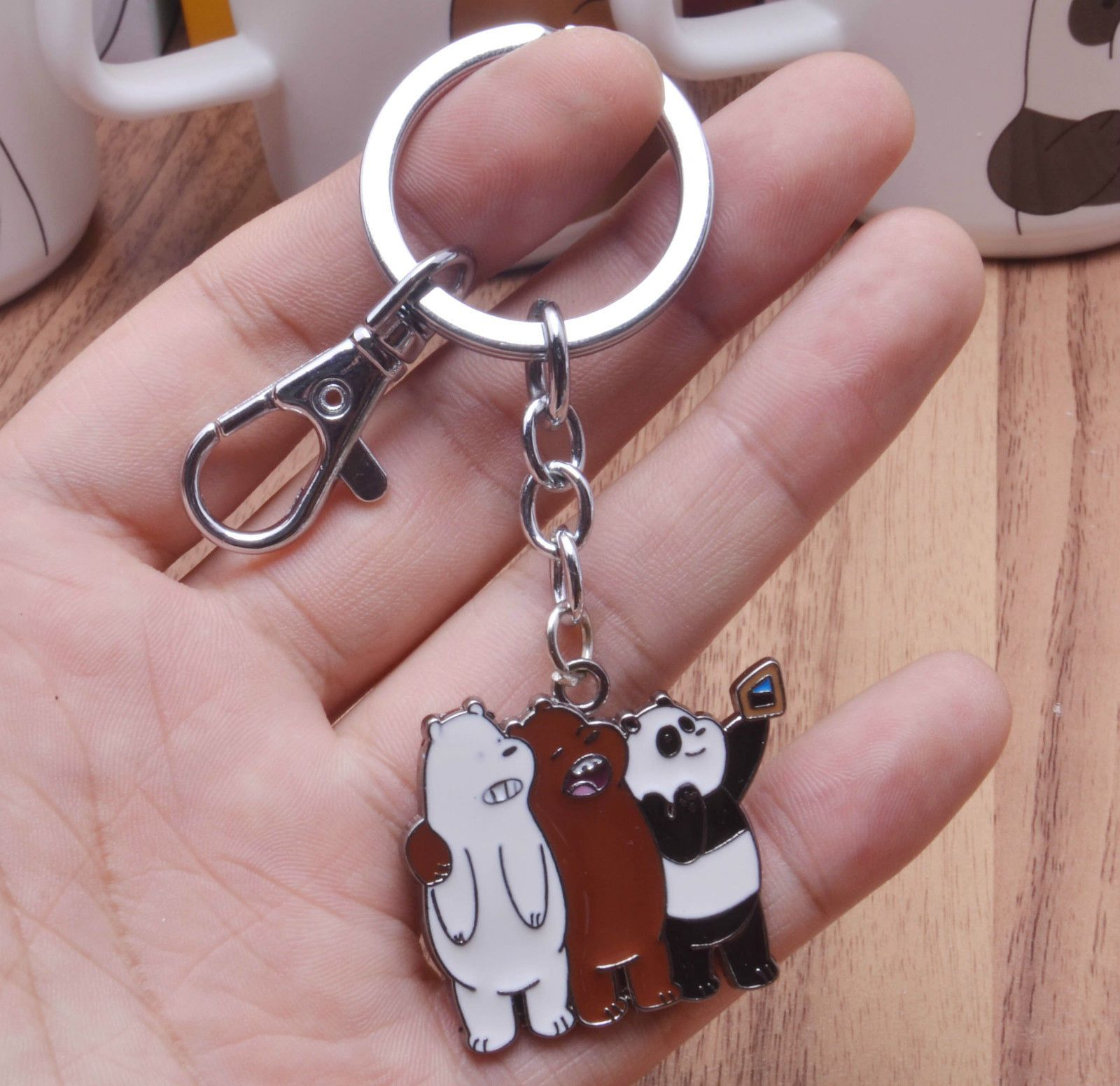 We Bare Bears Keyrings Ice Bear Key Chain Lanyard Bag Pendants Ornaments Collect