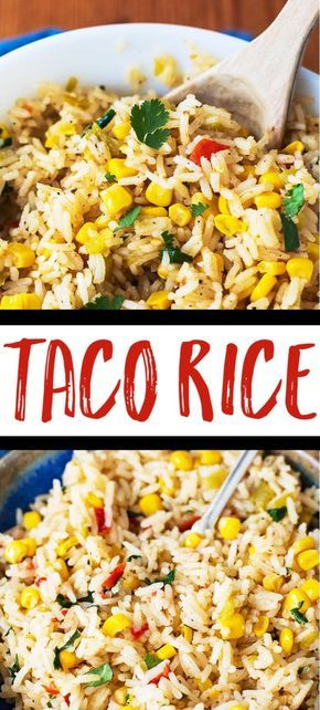 Taco Rice - This flavorful rice is a wonderful side dish, taco filling, or burrito filling. Made with taco seasonings, corn, and green chiles! via @casserolecrissy