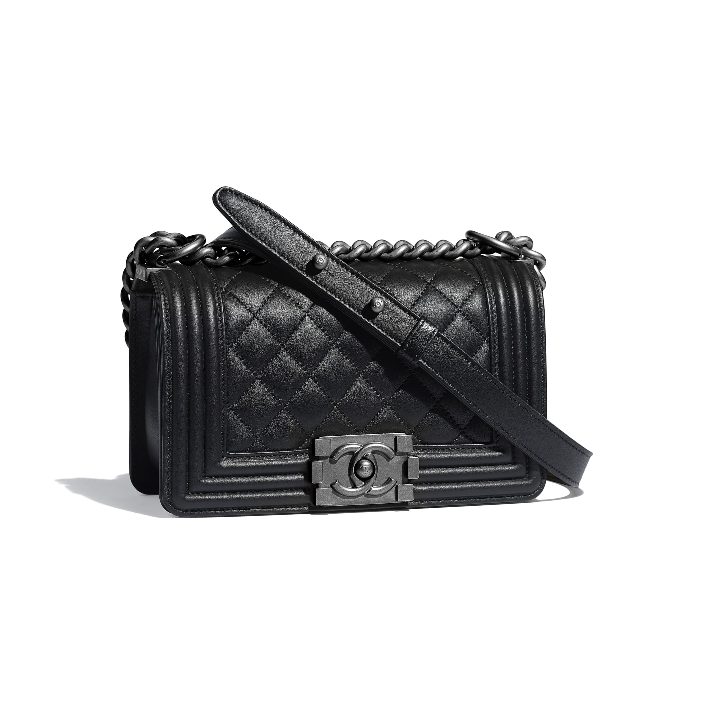 18644c1fdf62 Small BOY CHANEL Handbag - Black - Calfskin & Ruthenium-Finish Metal -  Default view - see standard sized version