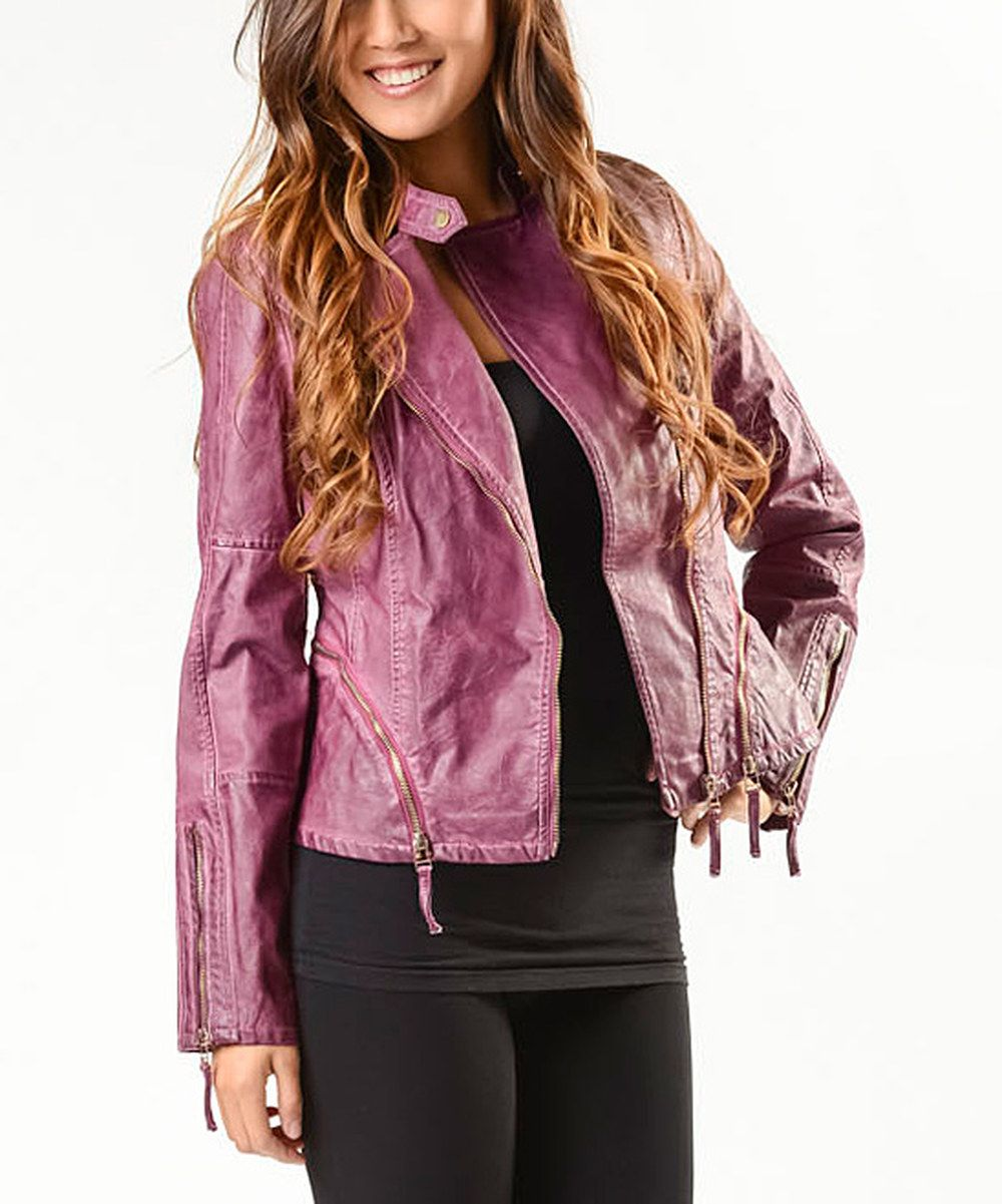 e736b881a Look at this PAPARAZZI Purple Faux Leather Moto Jacket - Women on ...