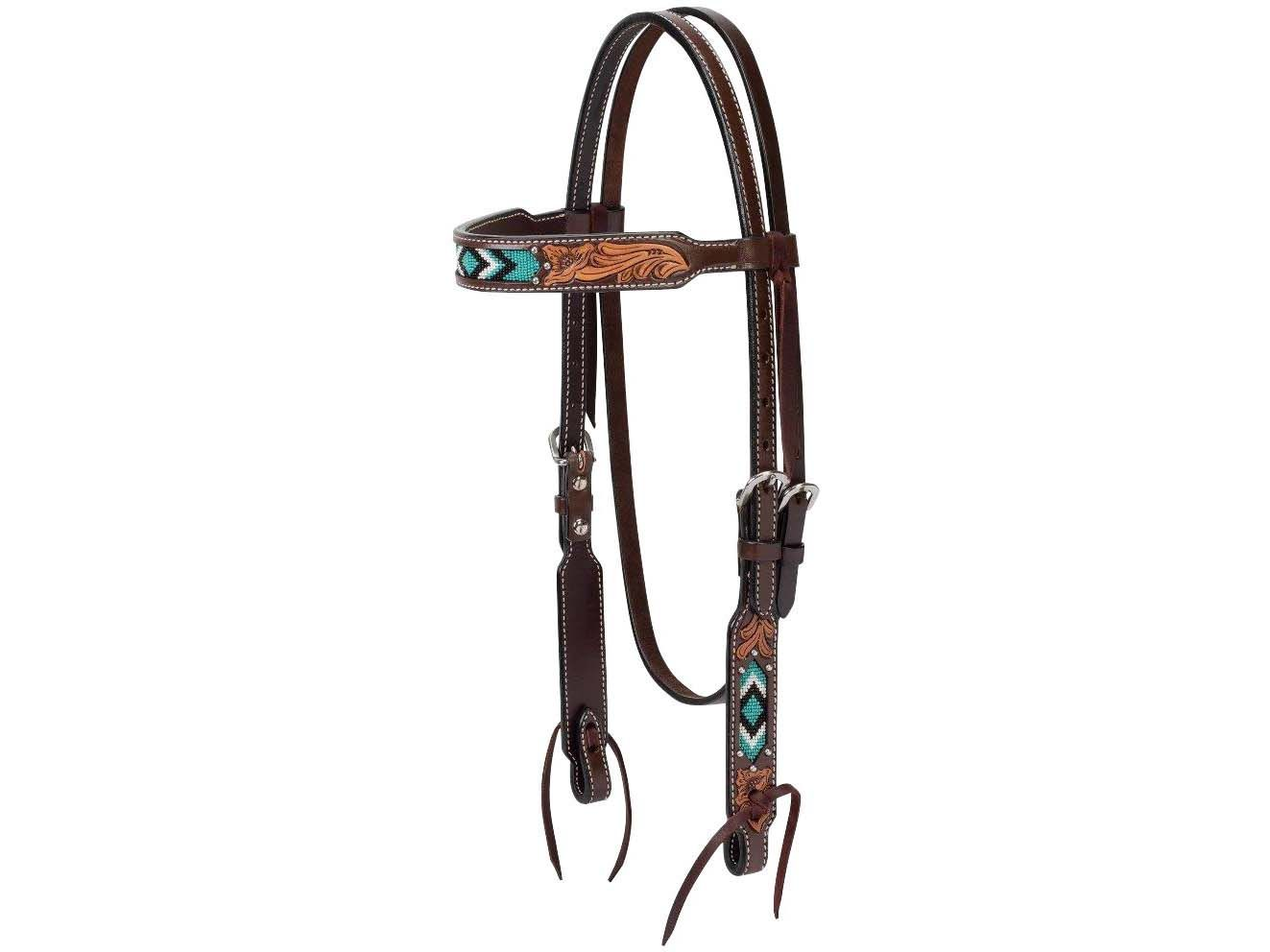 *NEW* Oxbow Tack Floral Tooled Torquoise Single Ear Headstall