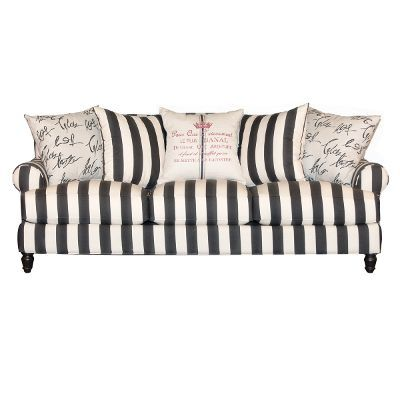 Elegant 94 Black And White Stripe Upholstered Sofa