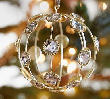 Caged Jewel Sphere Ornament #potterybarn $10.50