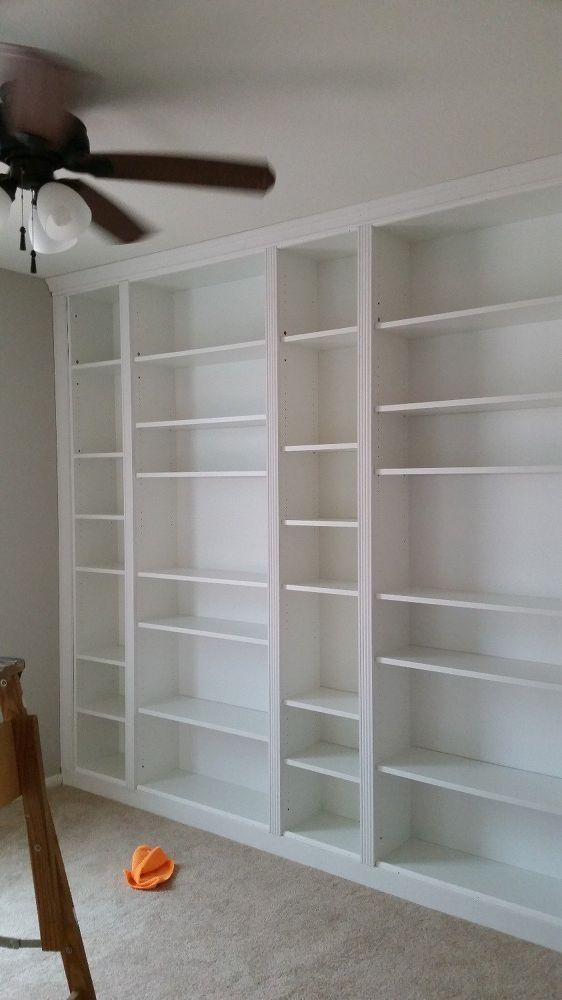 Diy Library Wall Billy Built In Bookcases Bookcase Diy Wall Bookshelves Bookshelves Diy
