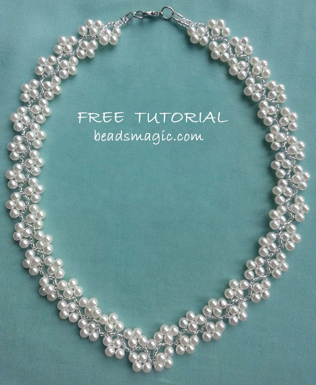 Free pattern for necklace Magnolia