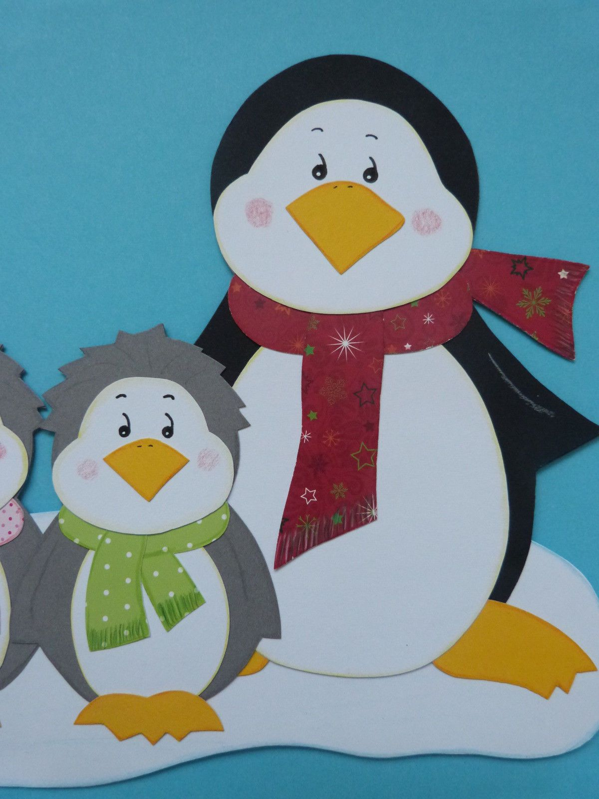 "fensterbilder tonkarton ""familie pinguin""  winter"
