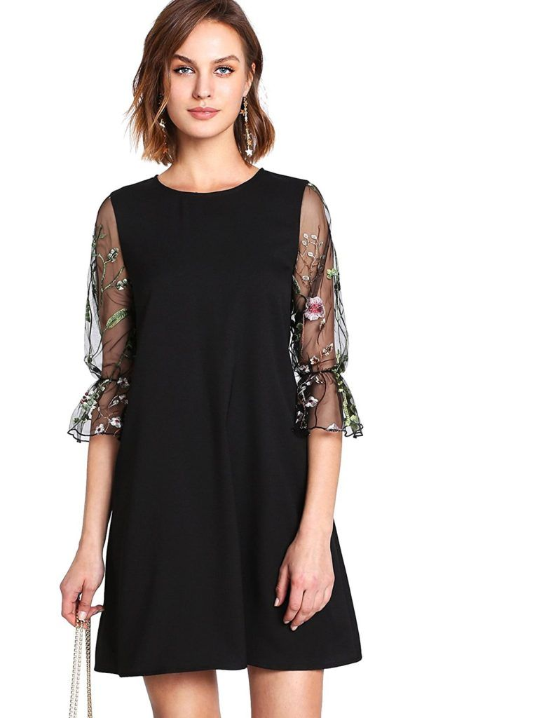 d9c14679d239 DIDK Women's Velvet Tunic Dress With Embroidered Floral Mesh Bishop Sleeve