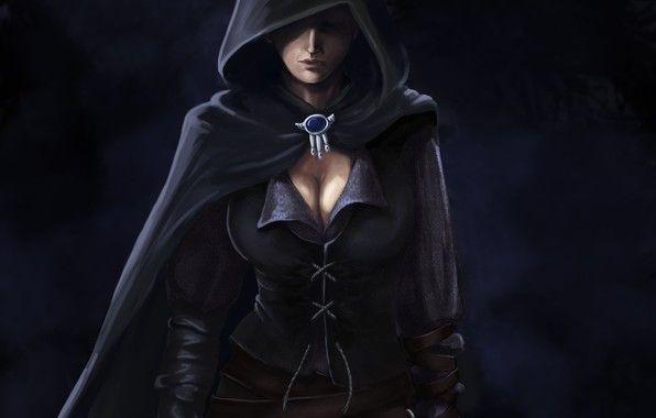 Wallpaper Art Girl Dark Cloak Hood Brooch Warrior Woman Fashion Drawing Fantasy Girl