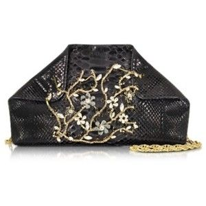 Ghibli Black Python Shoulder Bag w/Crystals