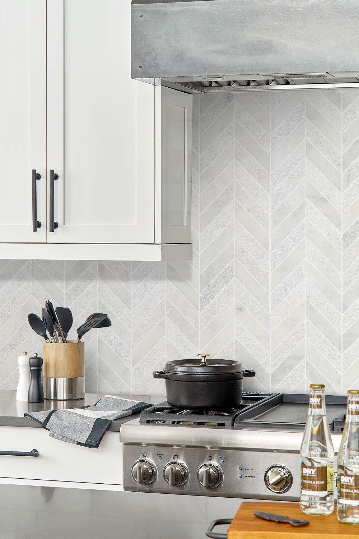 White Modern Marble Chevron Backsplash Tile Backsplash Com Kitchen Backsplash Designs White Tile Kitchen Backsplash Kitchen Tiles