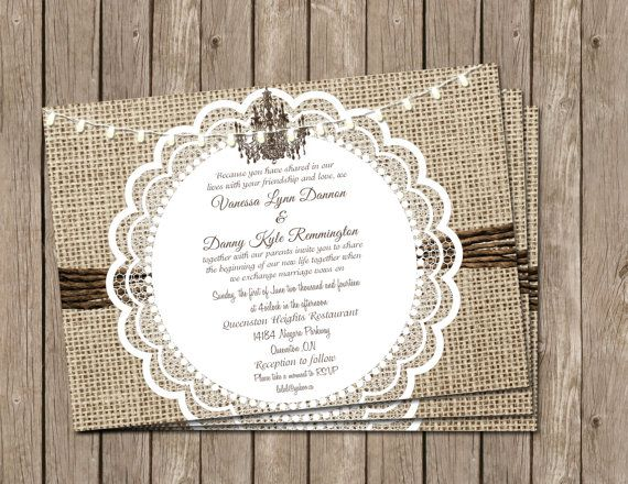 Rustic,Wedding Invitation, Bridal shower, burlap,lace,chandelier Digital file, Printable on Etsy, $13.00