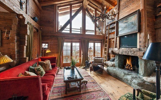 Amazing Luxury Swiss Chalet With Huge Rustic Fireplace And