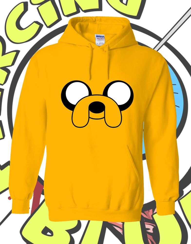 2690dbd460 Adventure Time Hoodie Jake the Dog Inspired Yellow Mens Ladies Girl Funny  Hooded  Gildan  MrTsShirts