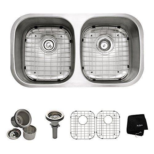 Kraus KBU22 32 inch Undermount 50/50 Double Bowl 16 gauge Stainless Steel Kitchen Sink Kraus http://www.amazon.com/dp/B0032BWTSU/ref=cm_sw_r_pi_dp_OZtQvb0Q68V5H