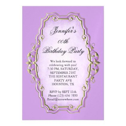 Pretty Purple Antique Frame Diamonds Birthday Magnetic Card