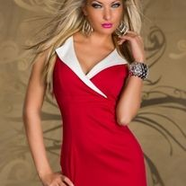 This red shirt neckline clubwear mini dress with white mini lapel, sleeveless clubwear, this elegant mini dress with V-neck design. Two white stripes on the front lower part. Matching G-string.  You could also say it is charming casual clothing or sexy clubwear dress, this red dress has a unique ...