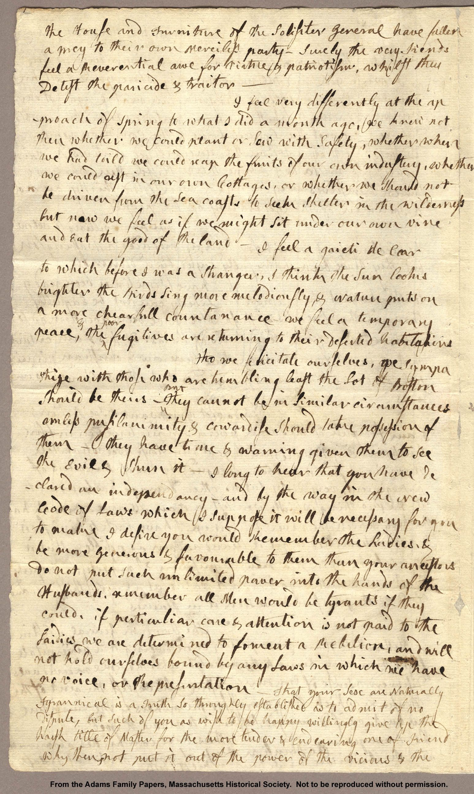 Adams Family Papers Letter from Abigail Adams to John Adams 31