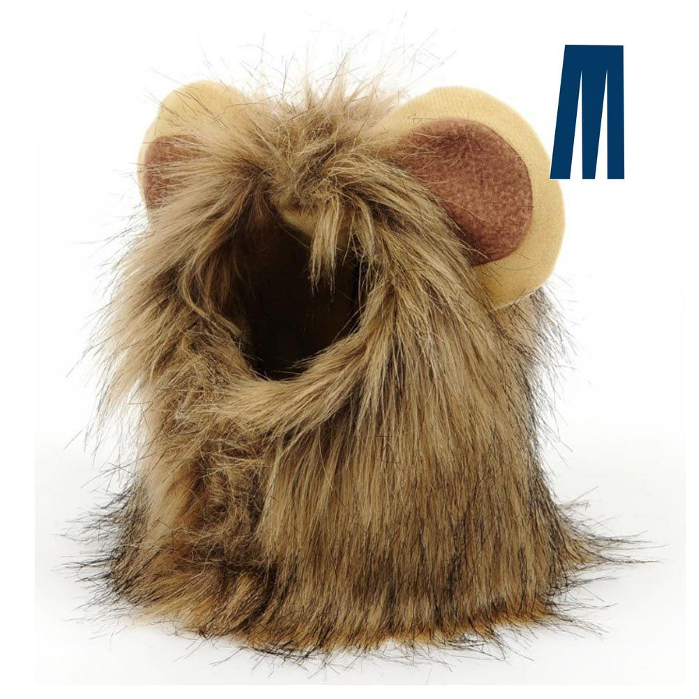 SunGrow Lion Mane Costume with Ears for Big Dogs and Cats