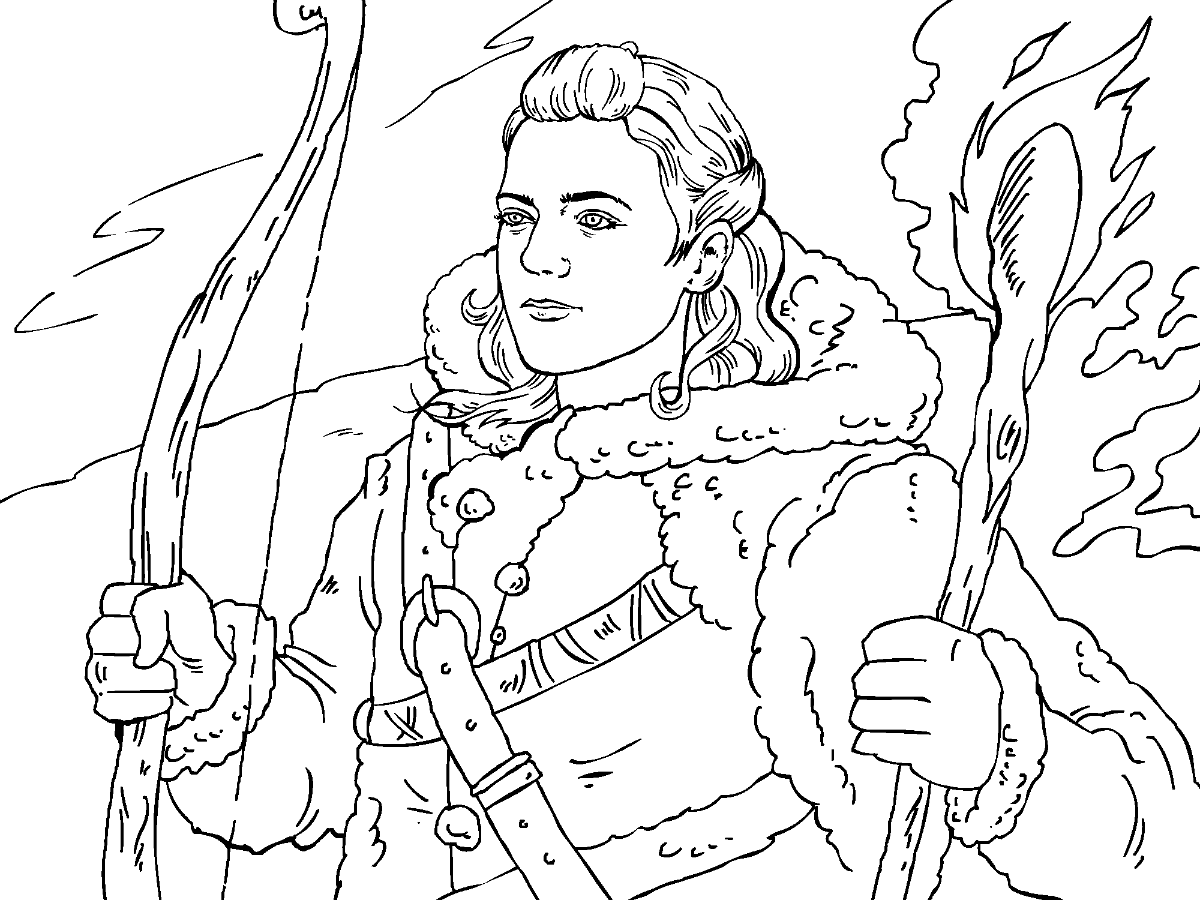 Colouring in pages games - Game Of Thrones Colouring In Page Ygritte