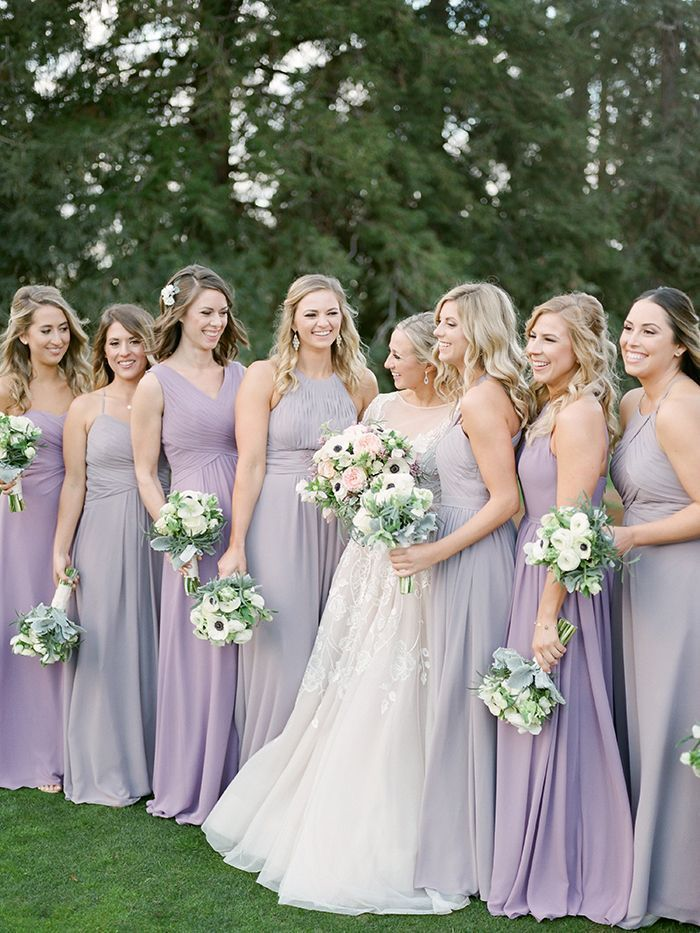 Glam Amethyst Country Club Wedding Lilac Bridesmaid Dresses