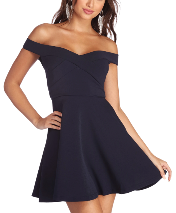 Off the Shoulder Short Navy Blue Party Dress #navyblueshortdress