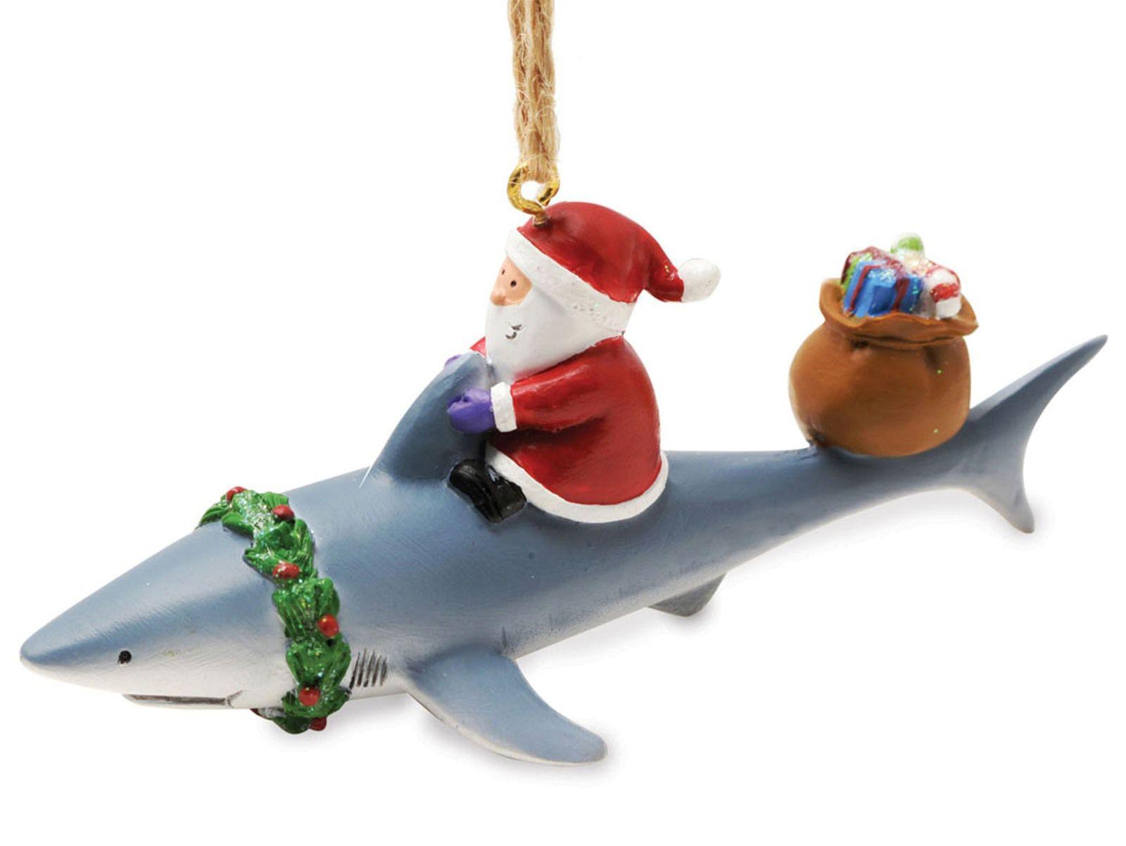 Nautical tree ornaments - Santa Riding Shark Nautical Fishing Christmas Ornament