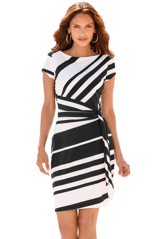 Black White Stripe Knot Sheath Dress  3808a566c