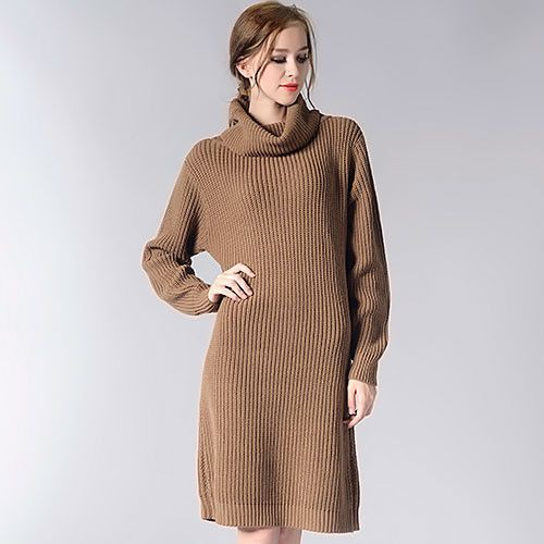 f54501da3c Women Long Sweater Turtleneck Young Ladies Fashion Autumn Winter Retro  Pullover Thick Knit Sweater For Women Knitwear GAREMAY