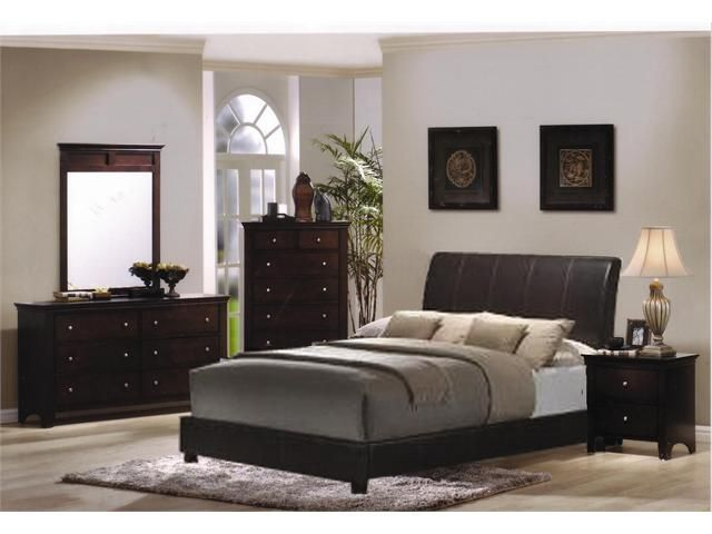 Bedroom Sets Espresso 5pc espresso finish bundled leather bedroom set queen bed, dresser