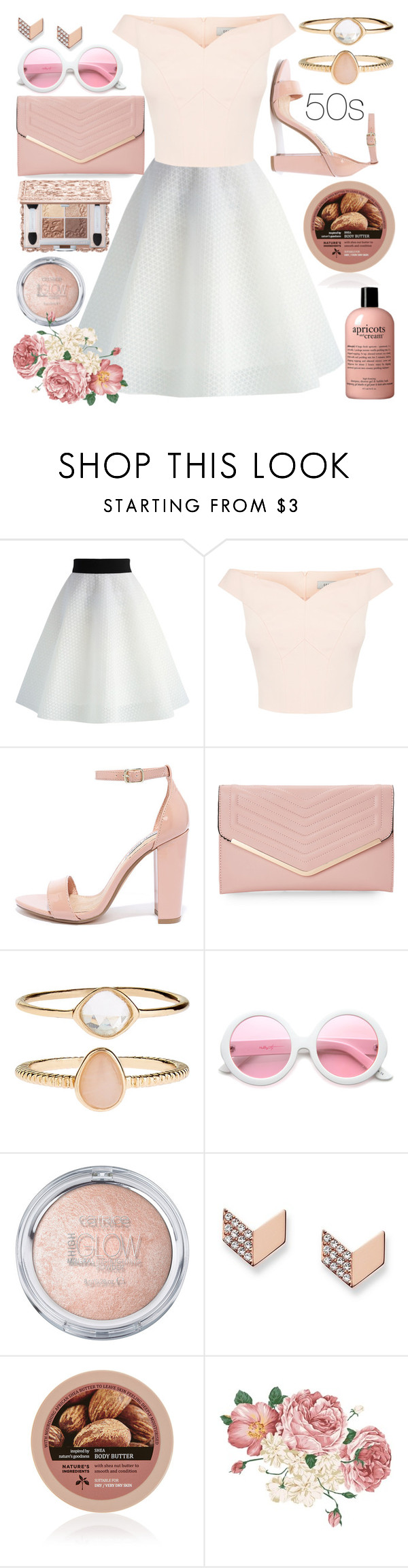 """""""back to 50s"""" by perfectlydeathly ❤ liked on Polyvore featuring Chicwish, Steve Madden, Sasha, Accessorize, ZeroUV and FOSSIL"""