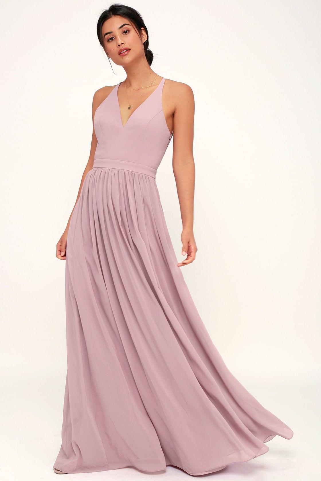 721282226f Stunning Lace-Back Maxi Dress - Dusty Lavender Dress - Maxi Dress