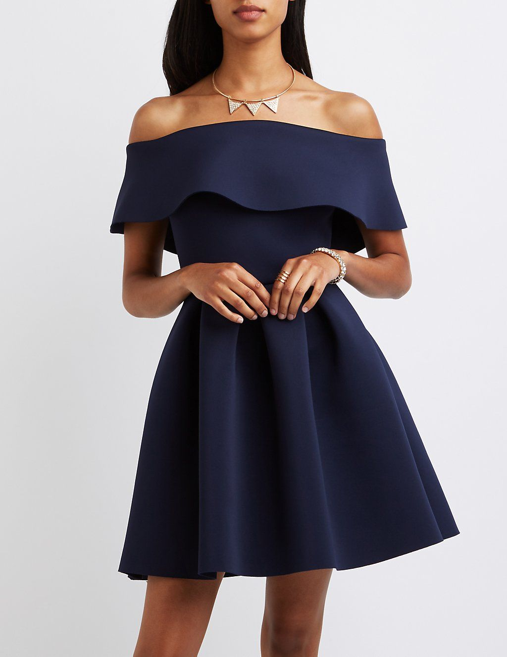 bac0731248 Ruffle Off-The-Shoulder Scuba Skater Dress in 2019