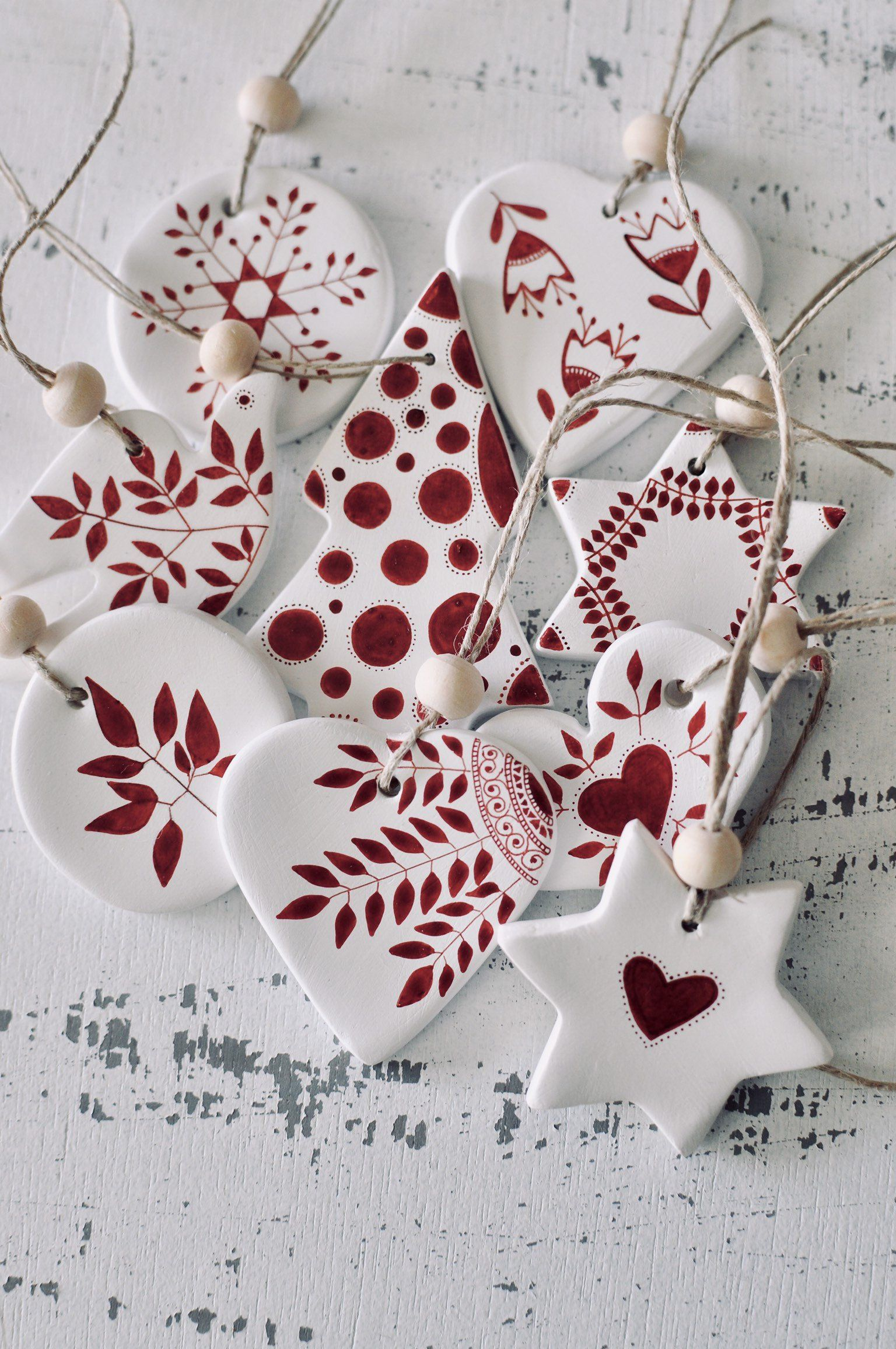 Set Of 9 Christmas Tree Decorations Ornaments Scandinavian Etsy Ceramic Christmas Decorations Clay Christmas Decorations Christmas Clay