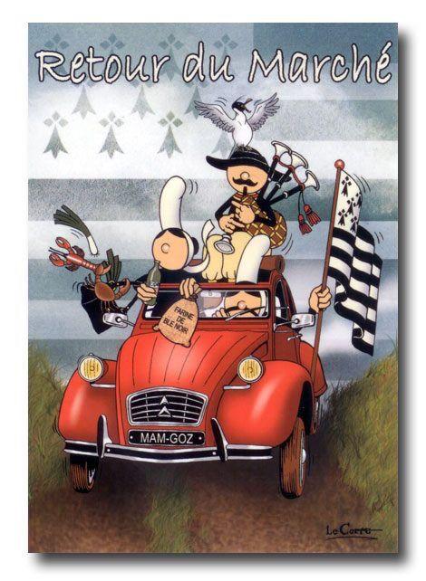 Humour breton carte postale dessin en 2019 humour - Dessin 2cv humour ...
