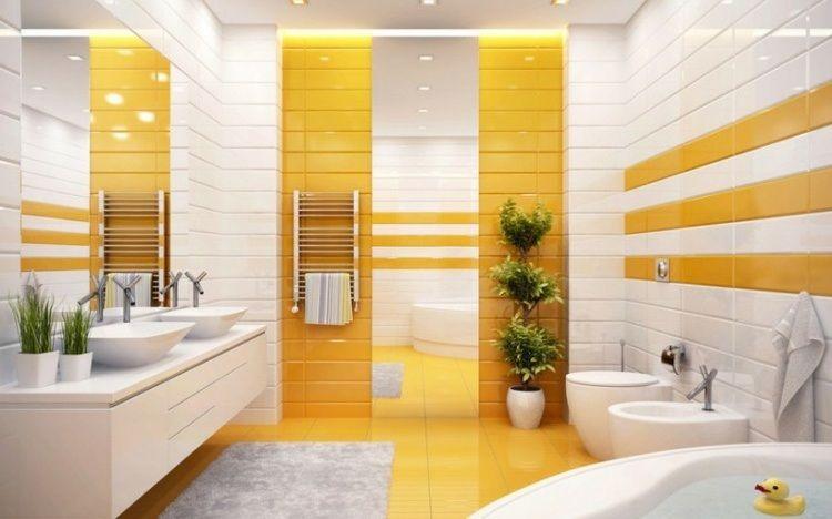 idées déco salle de bain - meuble sous vasques blanc neige ...