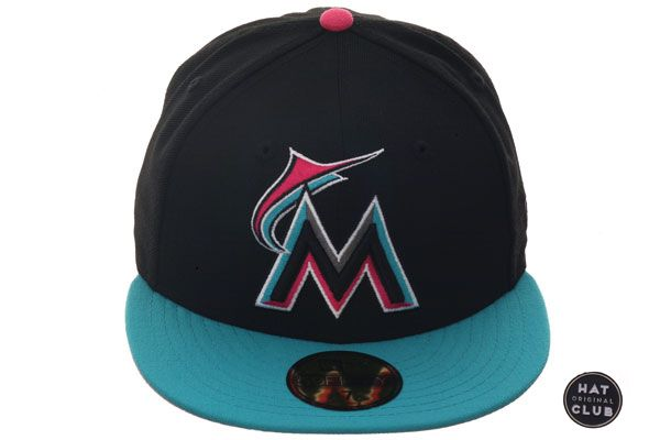 new style cab13 a9fed ... sweden hat club original new era 59fifty miami marlins fitted hat 2t  black teal b4e5b 8125a