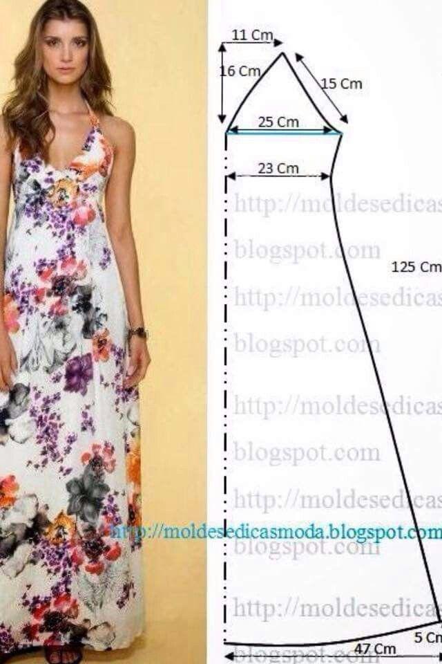 Vestido largo | patrones mujeres y alfileres | Pinterest | Costura ...
