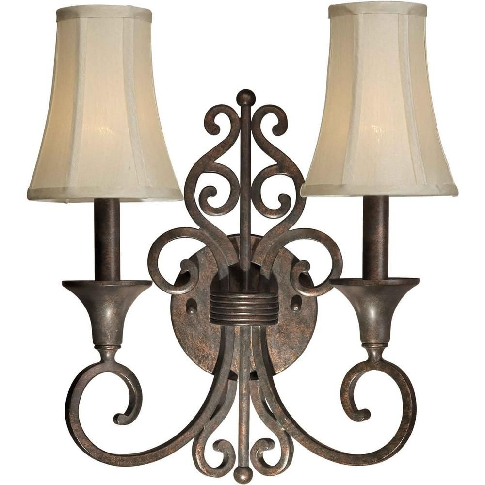 Talista 2-Light Black Cherry Sconce with Fabric Shades | Wall ...