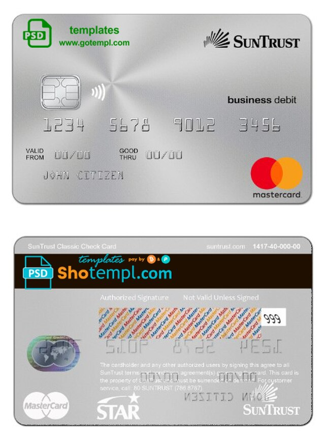 Usa Suntrust Bank Mastercard Template In Psd Format Fully Editable Templates Mastercard Suntrust