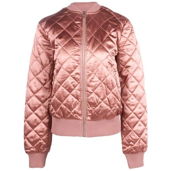 b90f2f2f4c326 Boohoo Olivia Quilted Satin Bomber ($44) ❤ liked on Polyvore featuring  outerwear, jackets, red bomber jacket, puff jacket, bomber jacket, puffer  jacket and ...