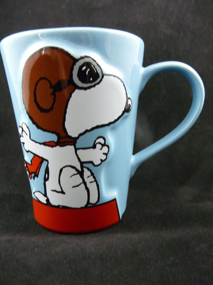 "Assez Peanuts Snoopy Coffee Mug The Flying Ace ""It's Hero Time!"" Vandor  HY67"
