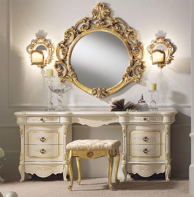 Luxus Schminktisch Set Frisierkommode Spiegel Hocker Gold