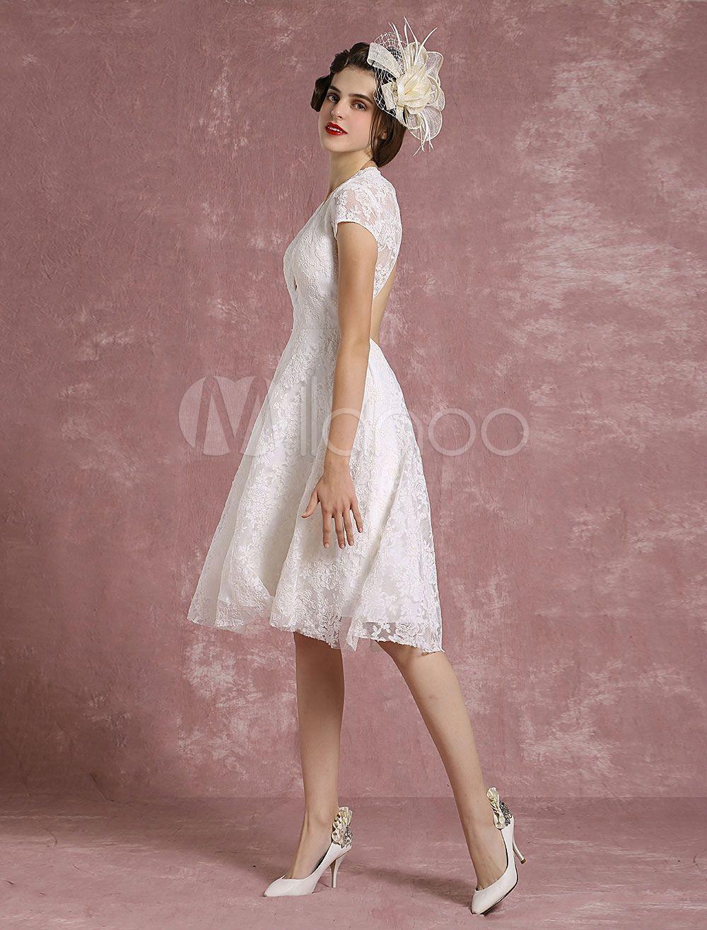 Kurzes Hochzeitskleid Spitze Elfenbein Brautkleid V Ansatz Backless ...