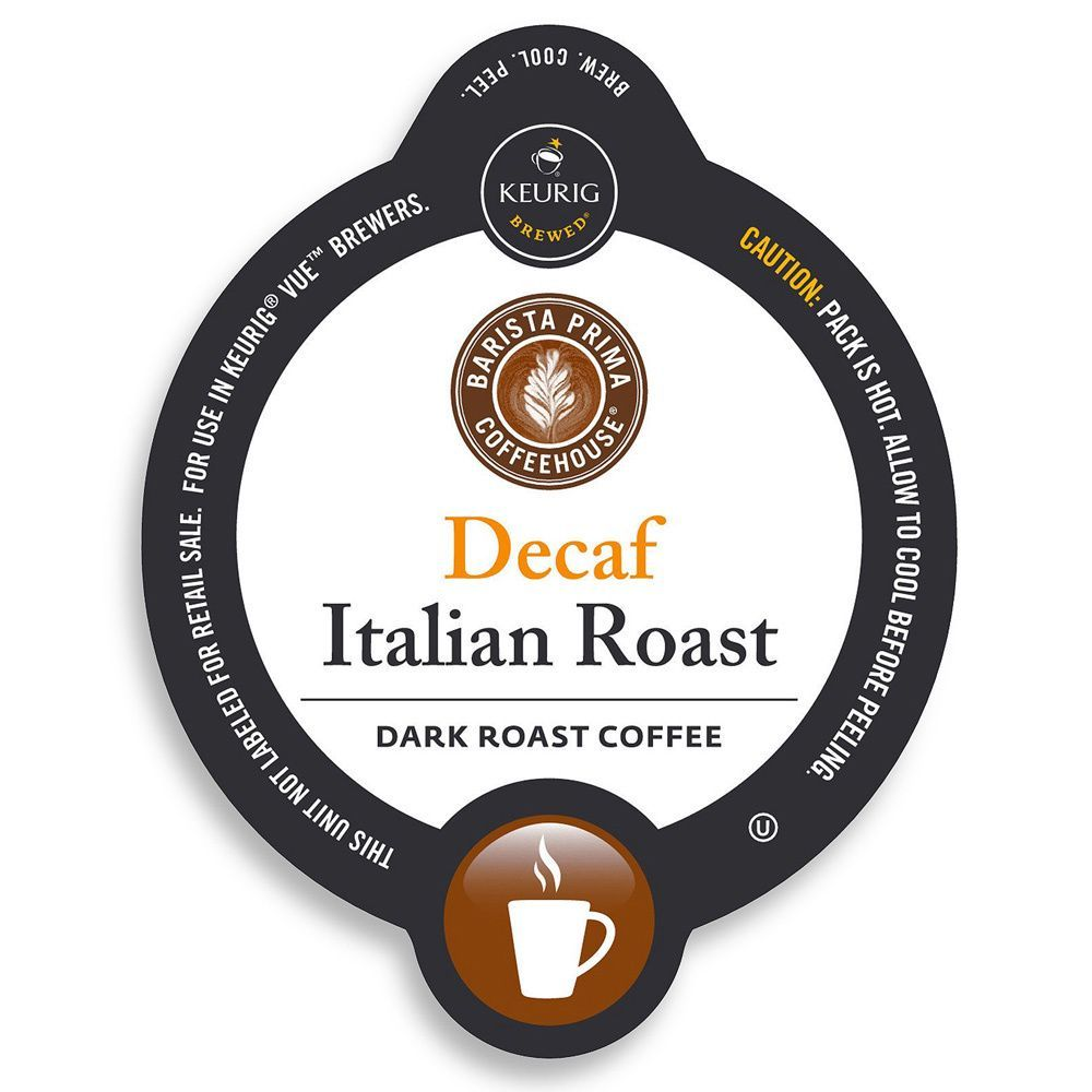 Barista prima coffeehouse decaf italian roast coffeekcup
